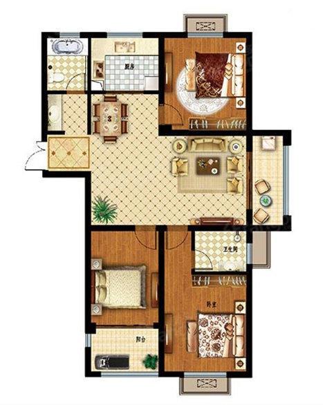 孔望尚府3室2厅2卫户型图
