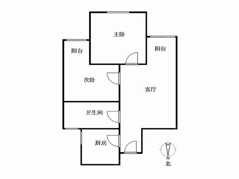 紫薇茗庭 2居 电梯房 户型图