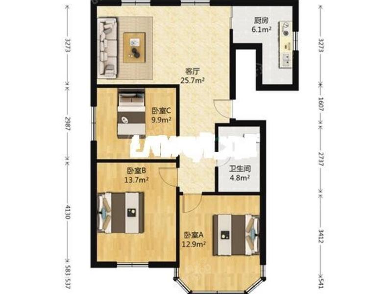 江海二村 3居 户型图