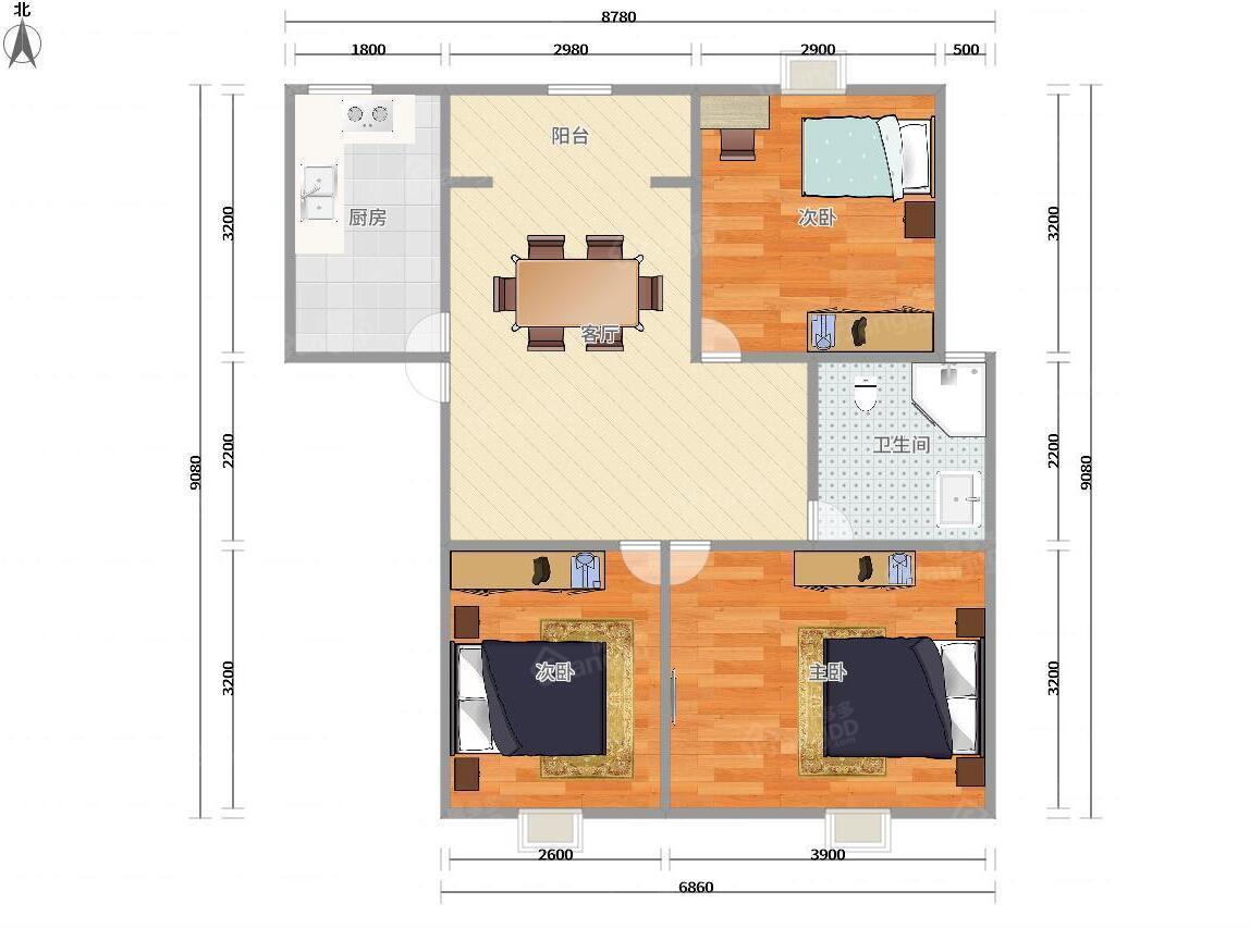 板式三房带产权车位,小区中心位置,近地铁,配套齐,景观楼层 户型图