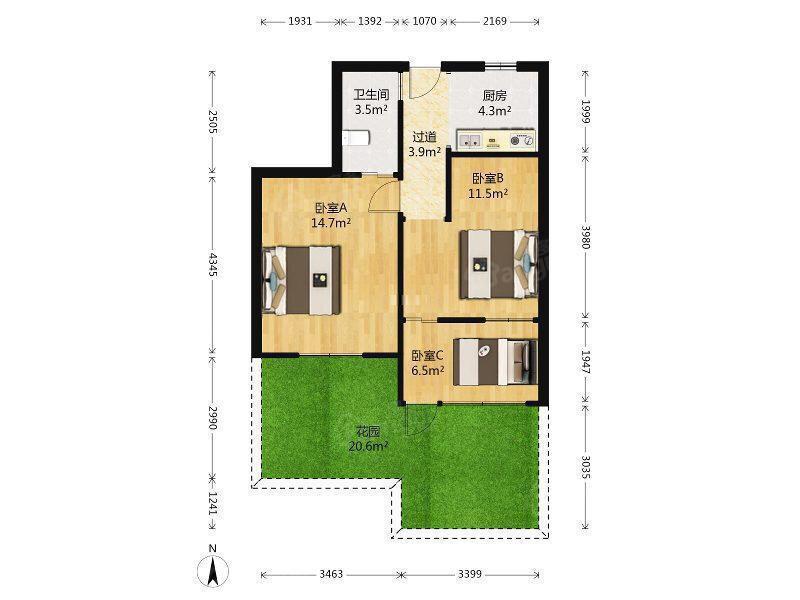 双楠双天井,毛坯房,空关的 户型图