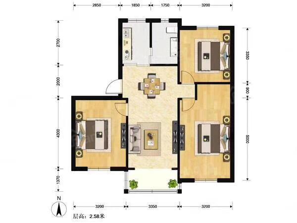九峰小区 3居 户型图