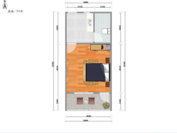 稀有一房一厅户型 不限购,可贷款!有燃气!带阳台,地铁口! 户型图