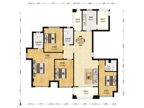 保利居上 4居 户型图