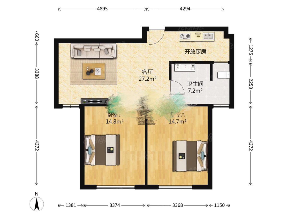 精装大两房。。凤凰楼层。低于市场价10万 户型图