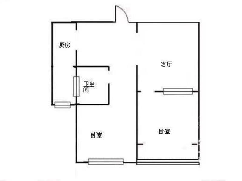 永康城浦芳苑 2居 南北通透 电梯房 户型图