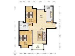 春申景城一期(公寓) 2居 朝南北 电梯房 满五唯一