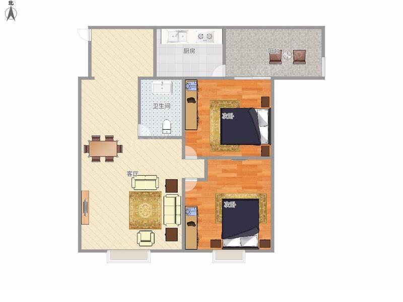 中心铂庭 2居 电梯房 靠近地铁 户型图